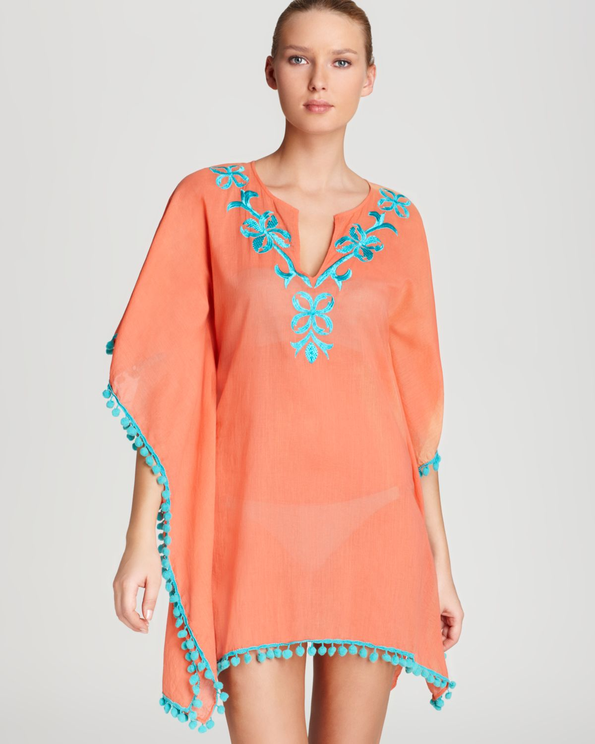 8a67d6923828d OndadeMar Swimsuit Cover Up Embroidered Pom Pom Tunic in Orange - Lyst