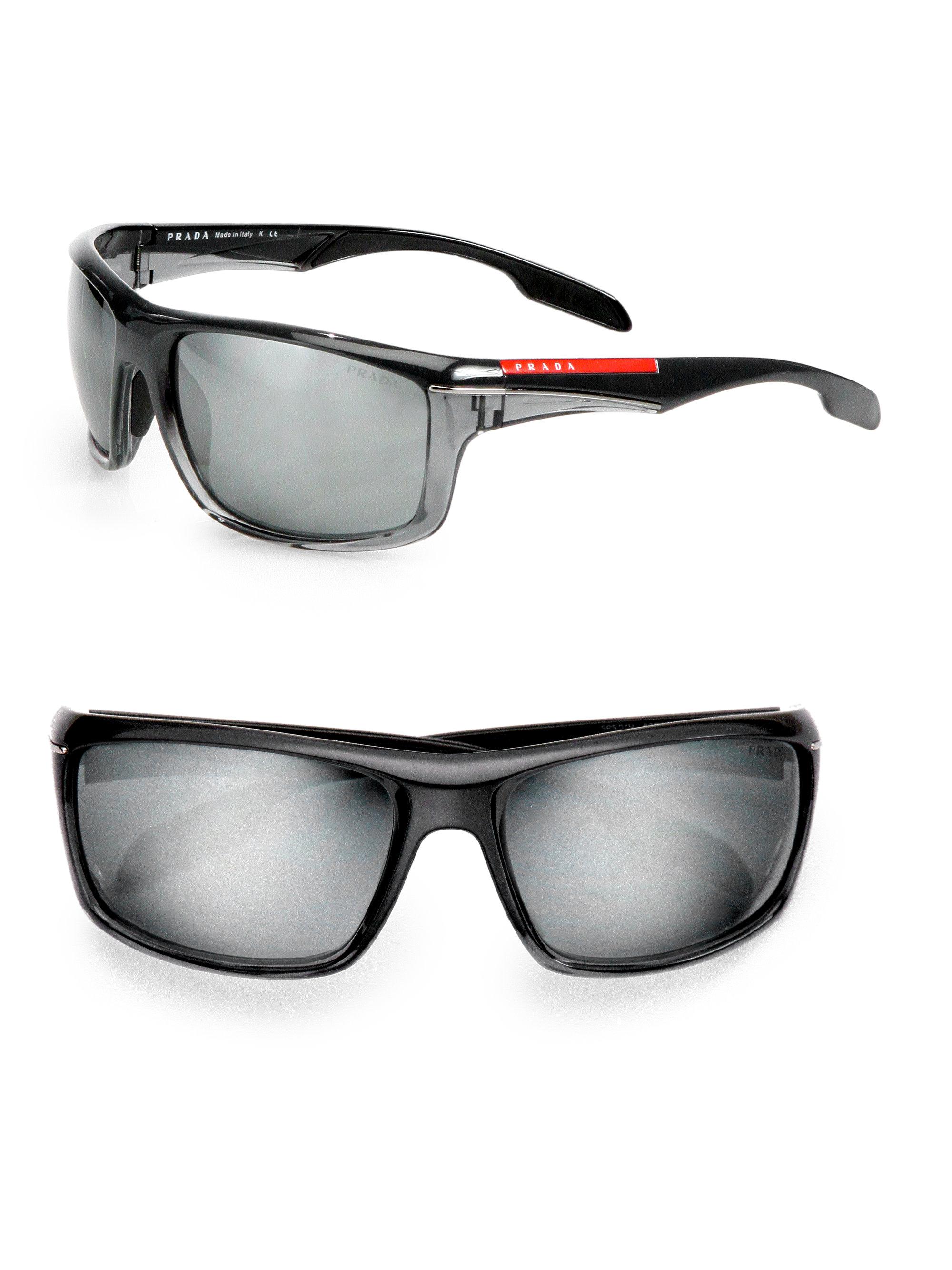 Prada Sport Wrap Sunglasses In Black For Men Black Multi