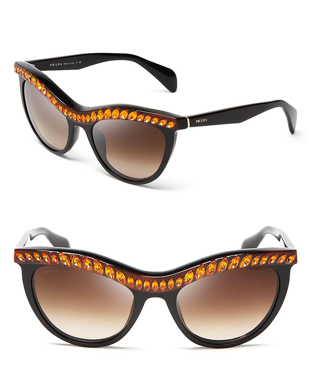 aabbf112359 ... clearance lyst prada jeweled cat eye sunglasses in black 6b38b 42384