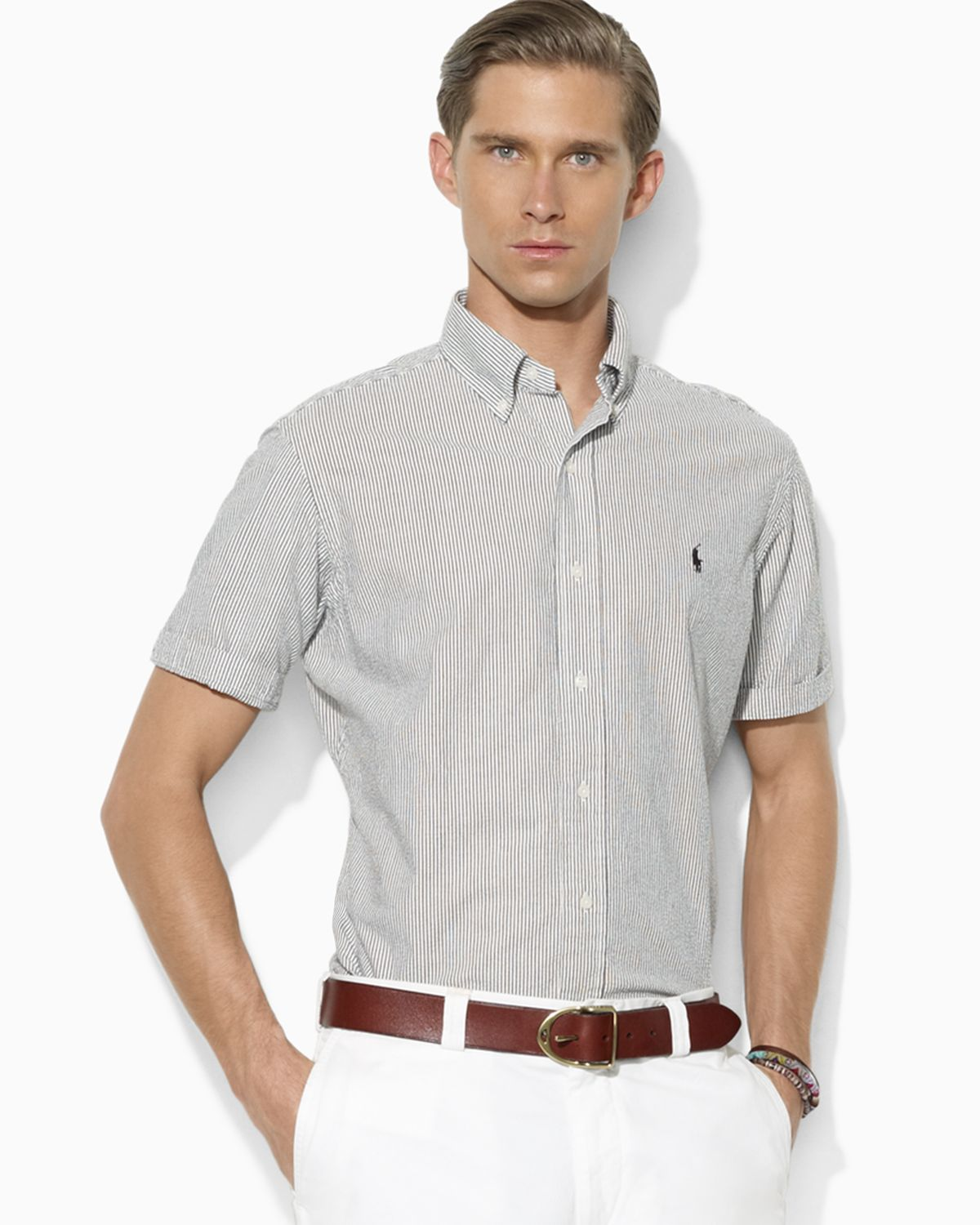 ralph lauren polo classicfit short sleeved seersucker