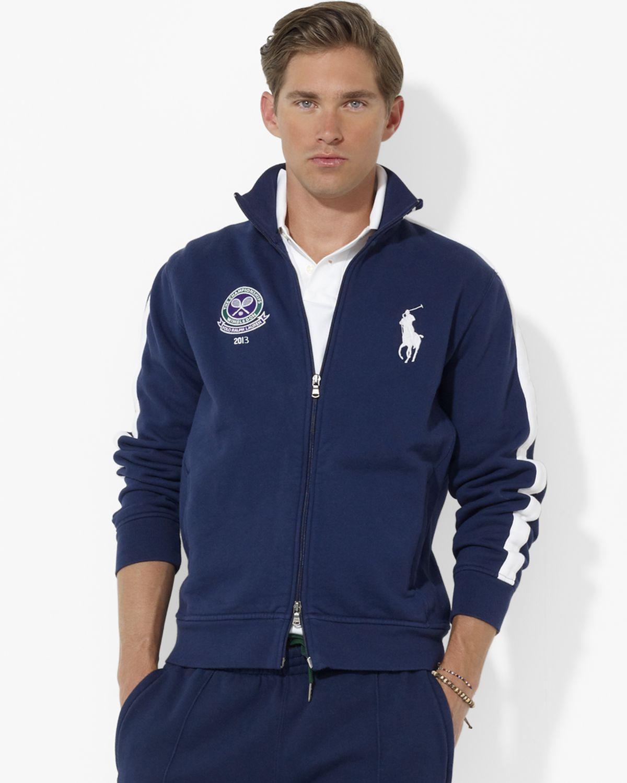 Lauren Boy Polo Track Fleece Ralph Jacket For Men Blue Wimbledon Ball Onvm0N8w