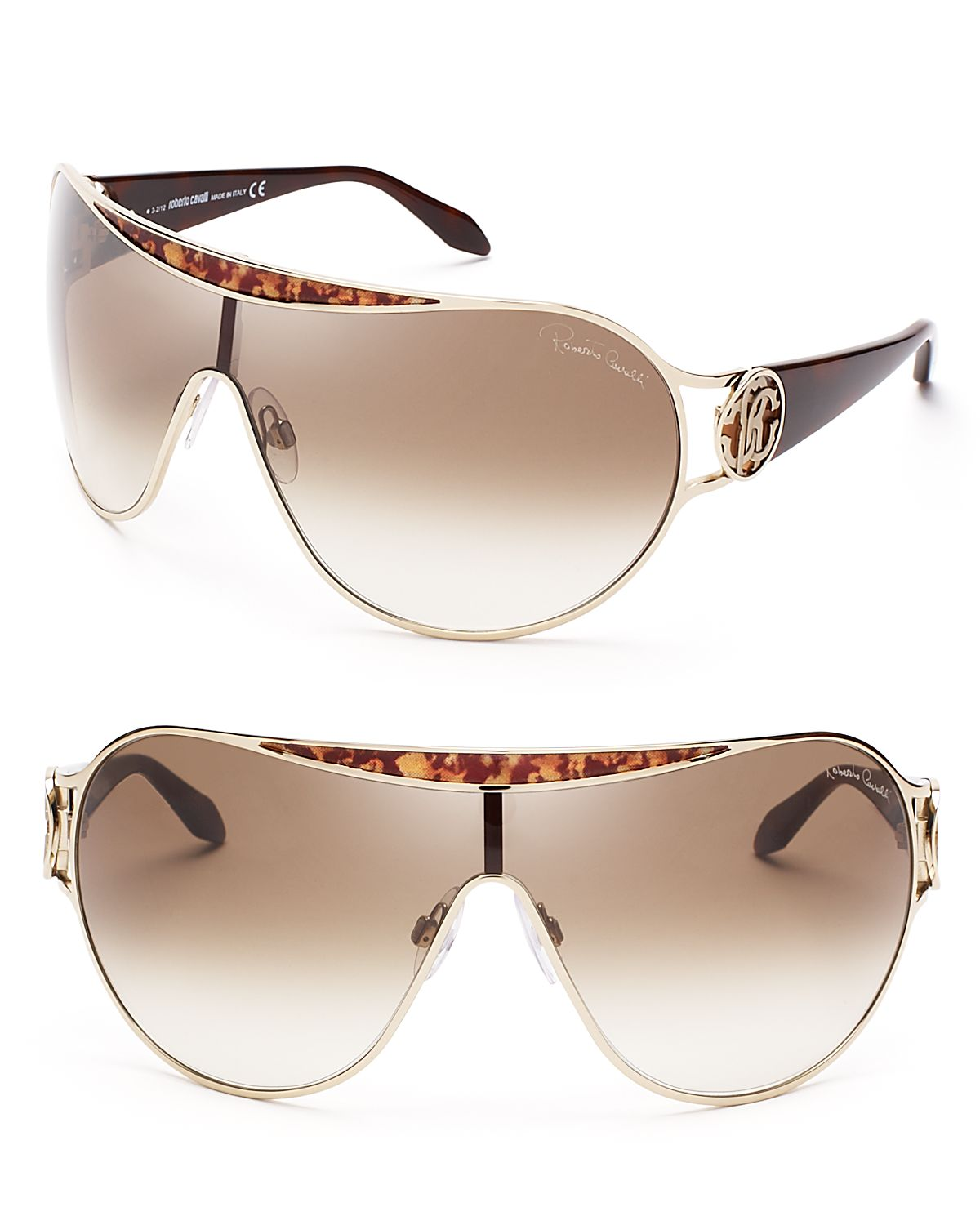 Roberto cavalli Shield Sunglasses in Metallic