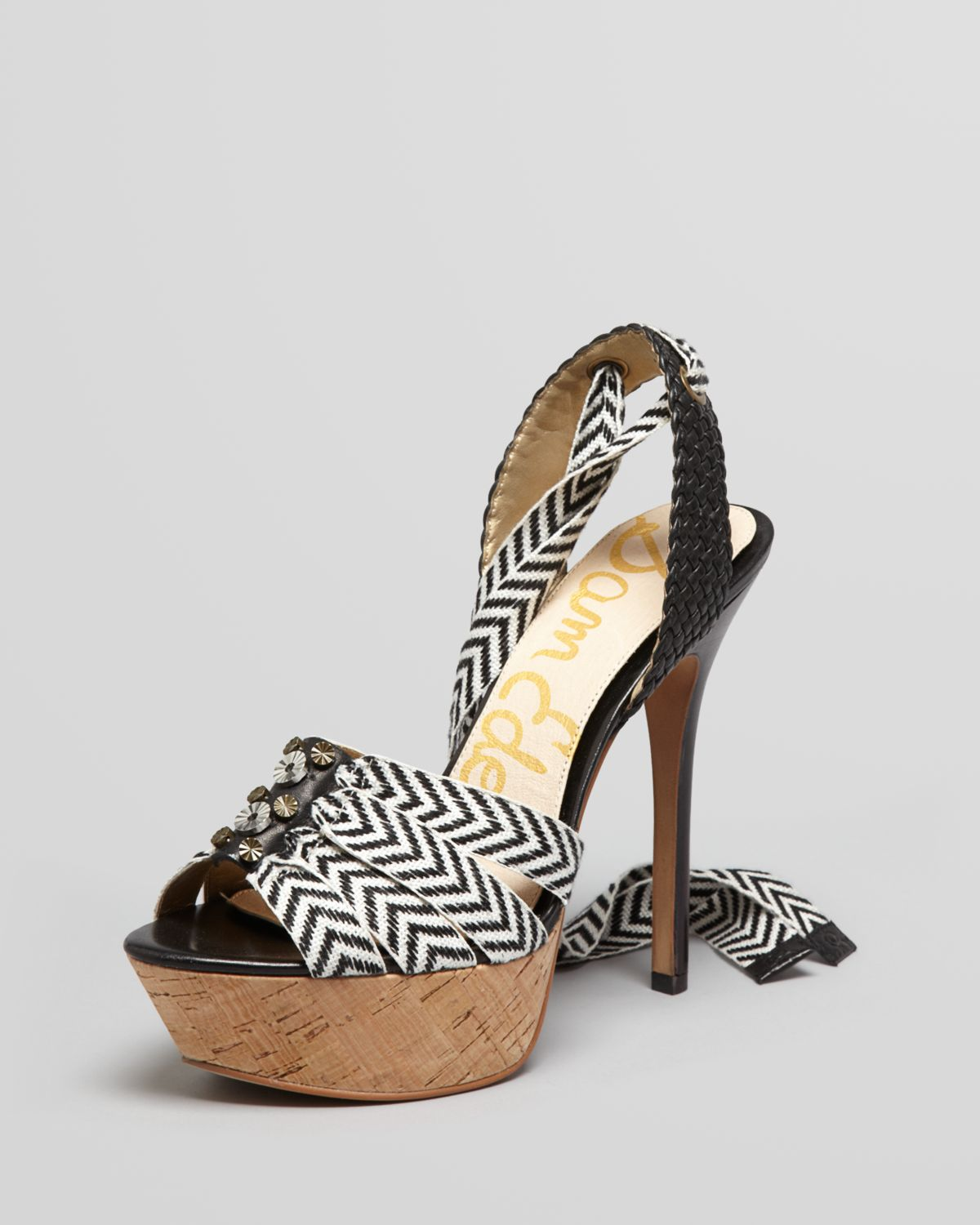 Sam Edelman Mela Canvas Strap Leather Pump Blackwhite In