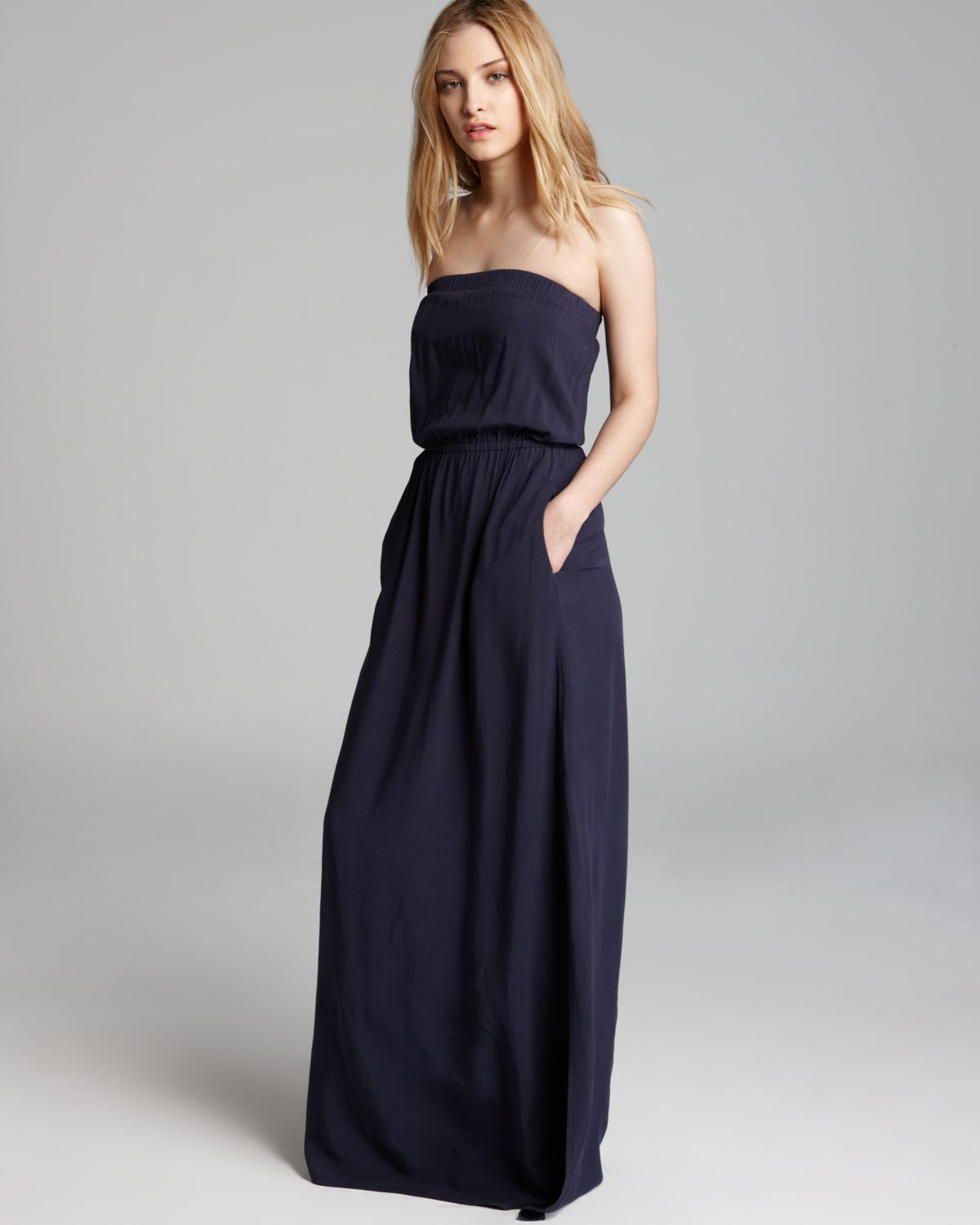 Lyst Splendid Dress Strapless Maxi In Blue