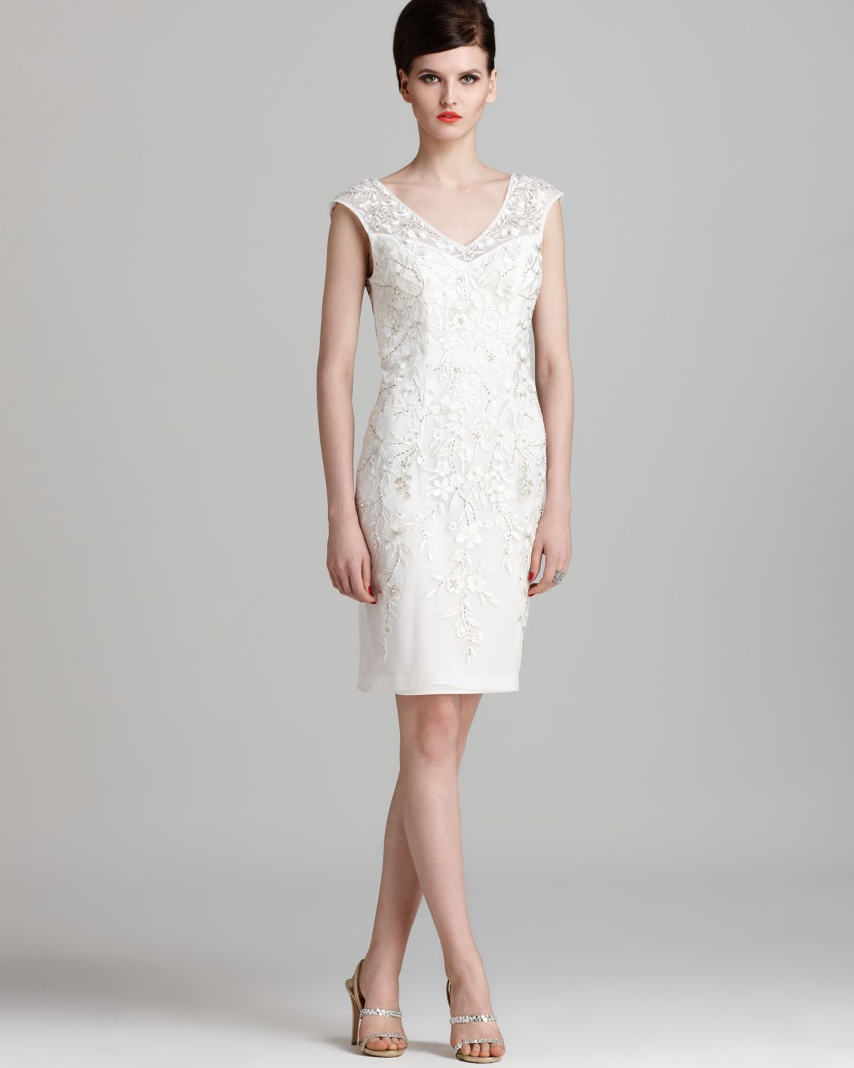 Sue Wong Embroidered Dress V Back In White