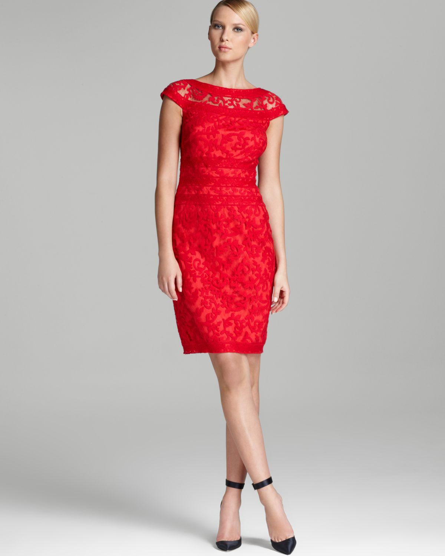 Tadashi Shoji Lace Dress Cap Sleeve Illusion Neck In Red