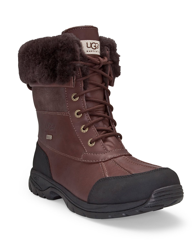 Ugg Mens Butte Waterproof Leather Boots In Dark Brown