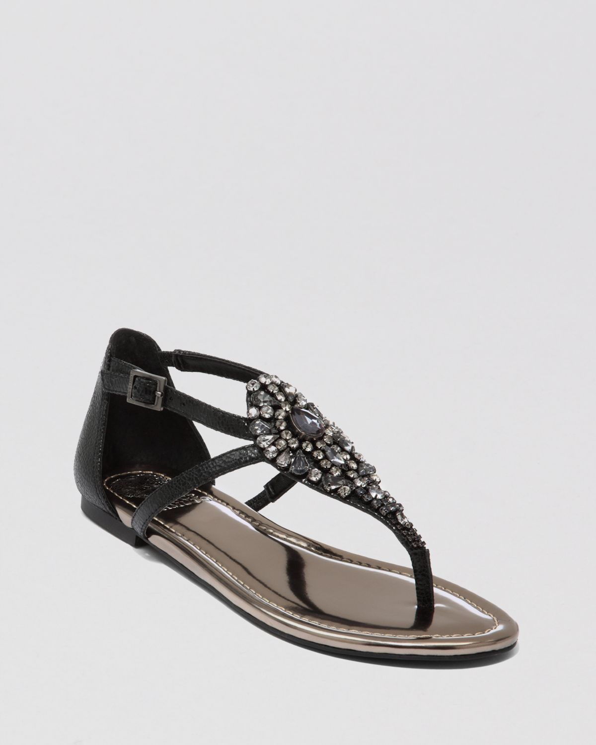 Vince Camuto Sandals Macalia Jeweled Flat In Black | Lyst