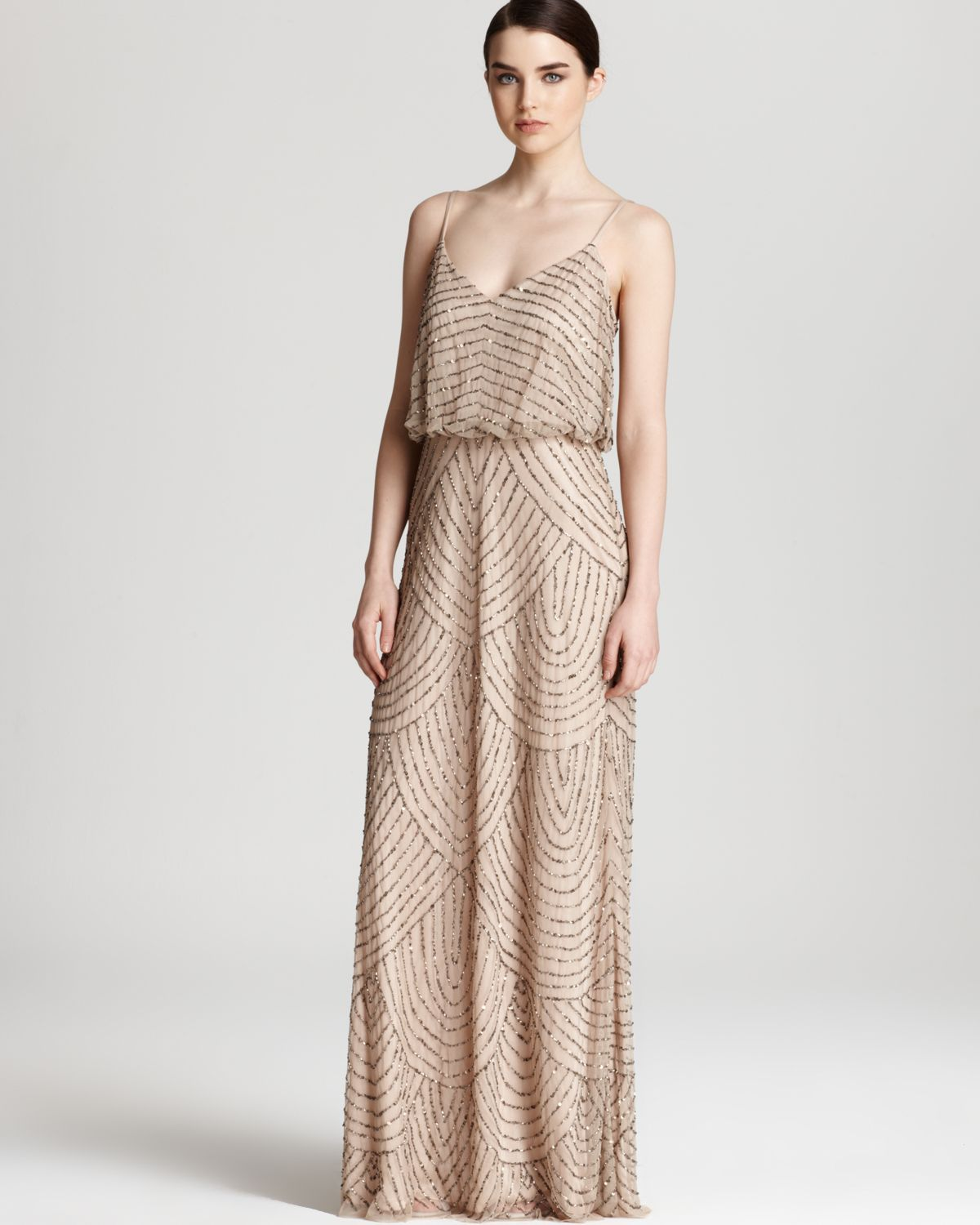 Adrianna Papell Beaded Dress Long Blouson In Brown