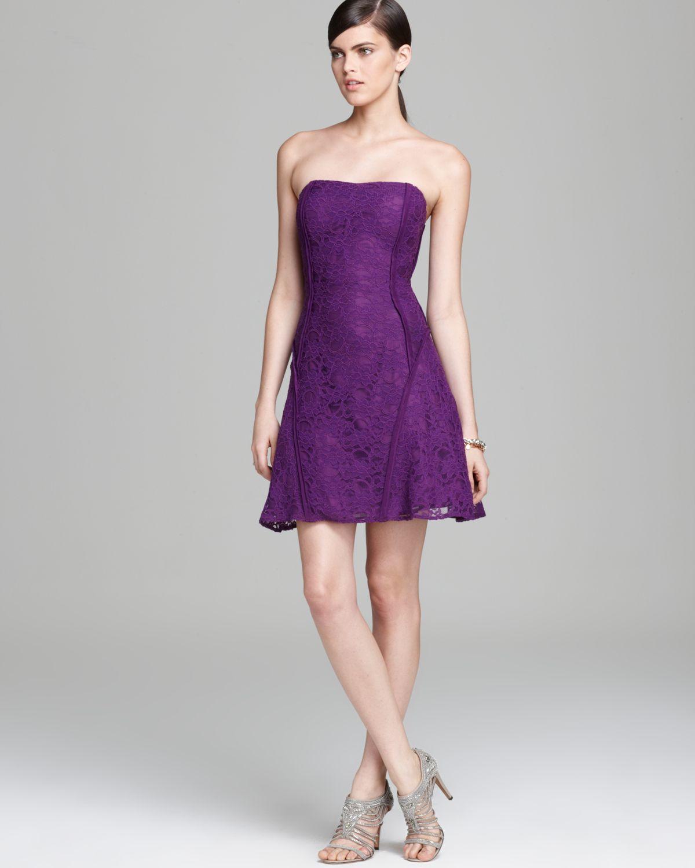 Purple Lace Strapless Dress
