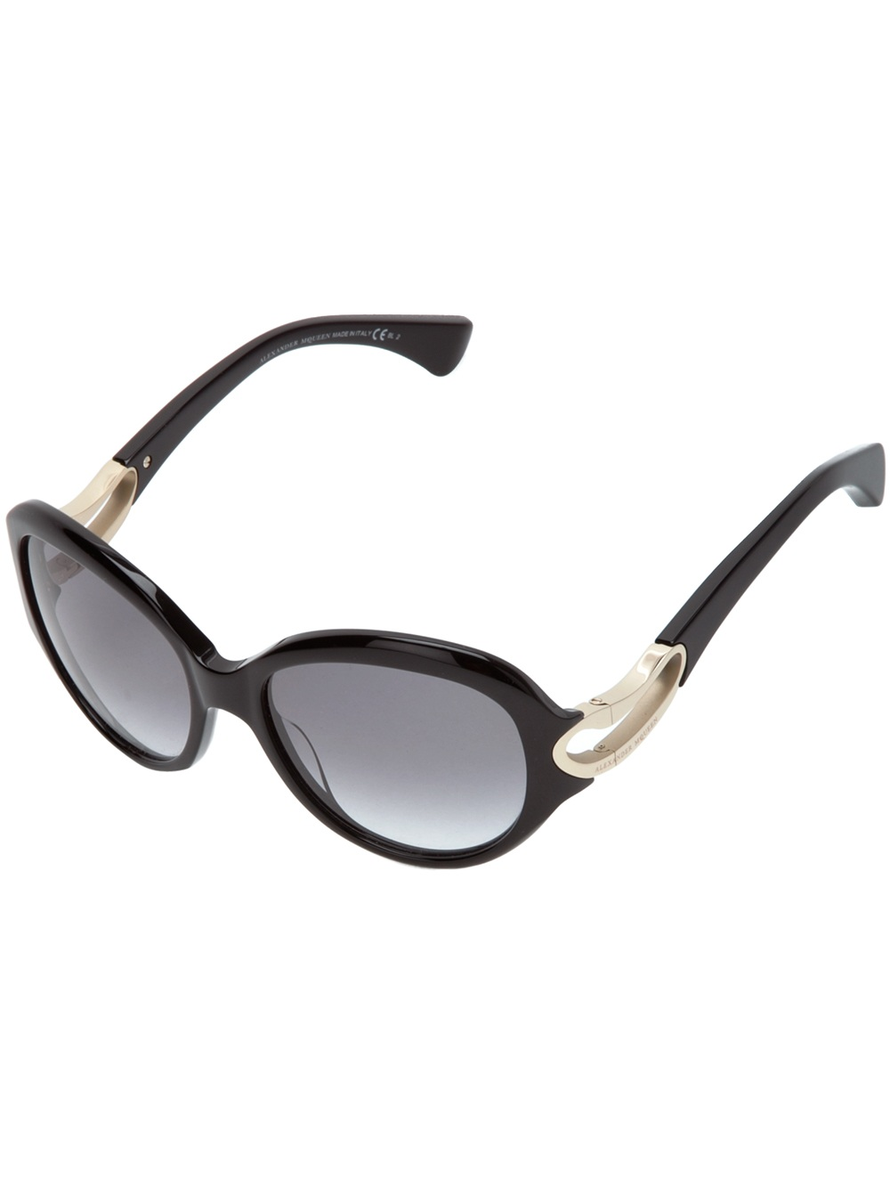 adf96361ea Lyst - Alexander Mcqueen Oval Sunglases with Case in Black
