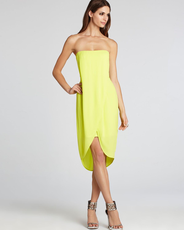 Bcbgmaxazria Strapless Dress Asymmetric Hem in Yellow | Lyst