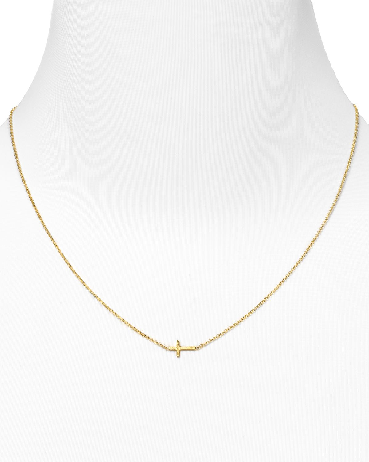 dogeared gold whisper cross necklace 18 quot in gold lyst