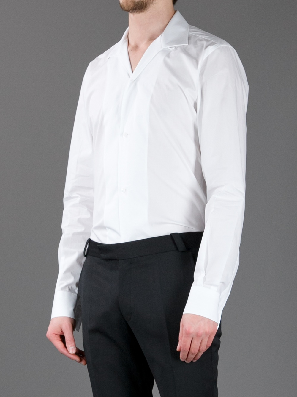 Dolce & gabbana Open Collar Shirt in White for Men | Lyst