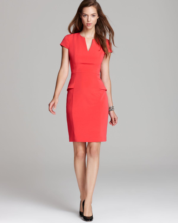 Lyst - Elie Tahari Peplum Dress Jasper Cap Sleeve in Orange