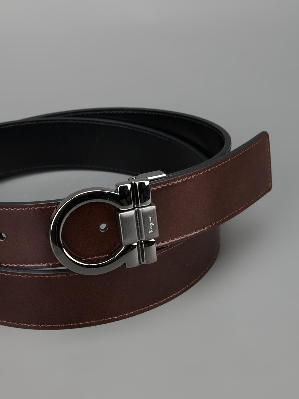Lyst Ferragamo Embossed Brand Buckle Belt In Brown For Men