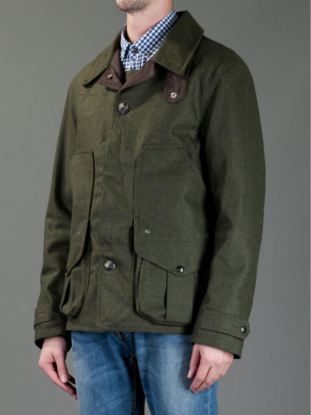 filson button fastening jacket in green for men