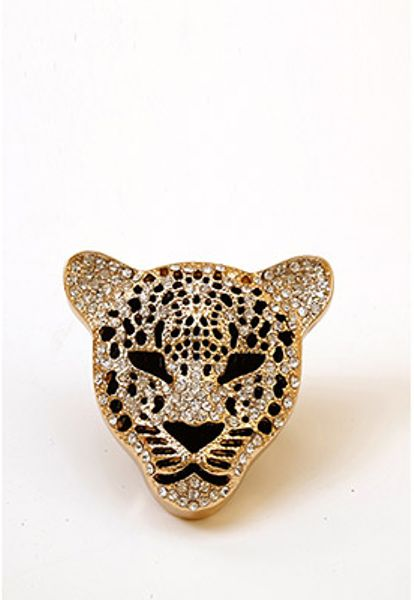 forever 21 rhinestoned jaguar cocktail ring in gold gold. Black Bedroom Furniture Sets. Home Design Ideas