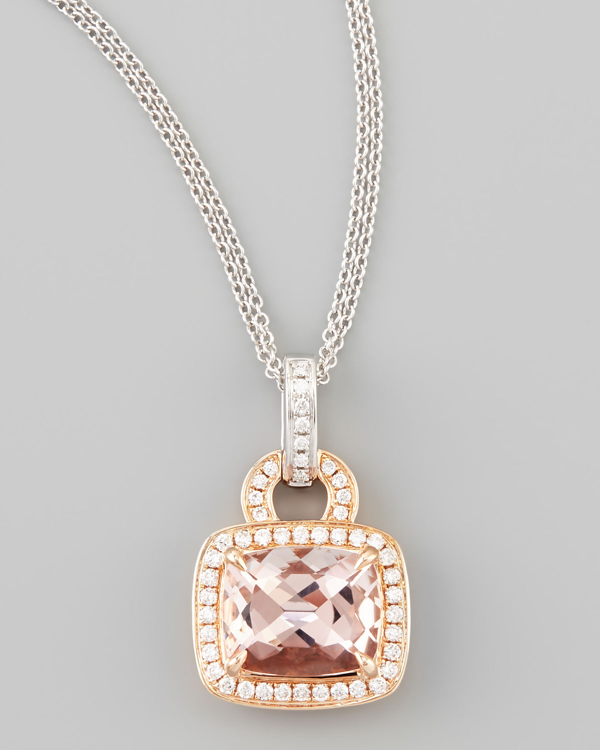 Lyst Frederic Sage 18k Rose Gold Pave Diamond Morganite