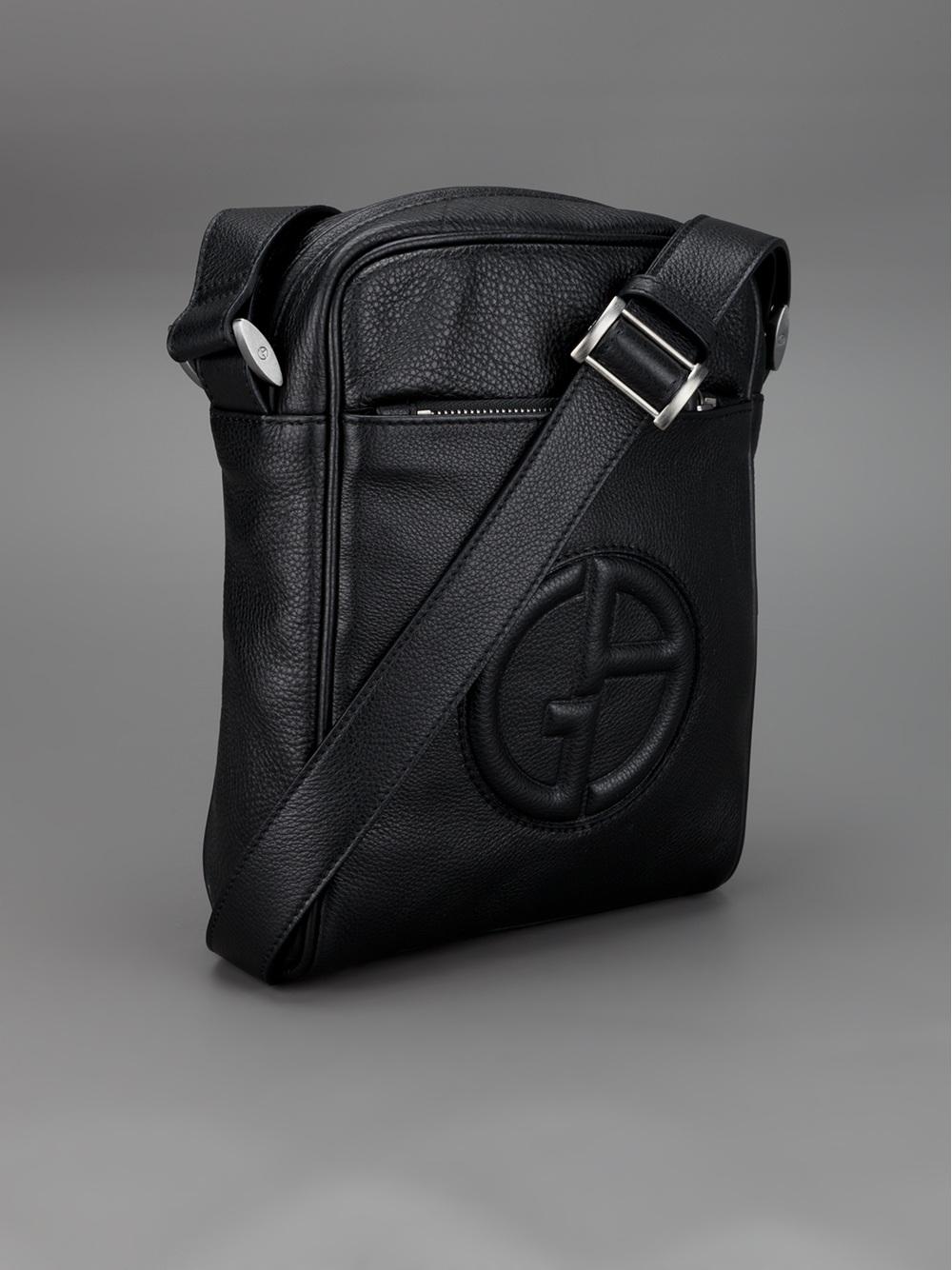 9dfaa7cef1 ... Bags  reputable site d5ca4 582b7 Lyst giorgio armani raised logo  messenger bag in black for men jpg ...