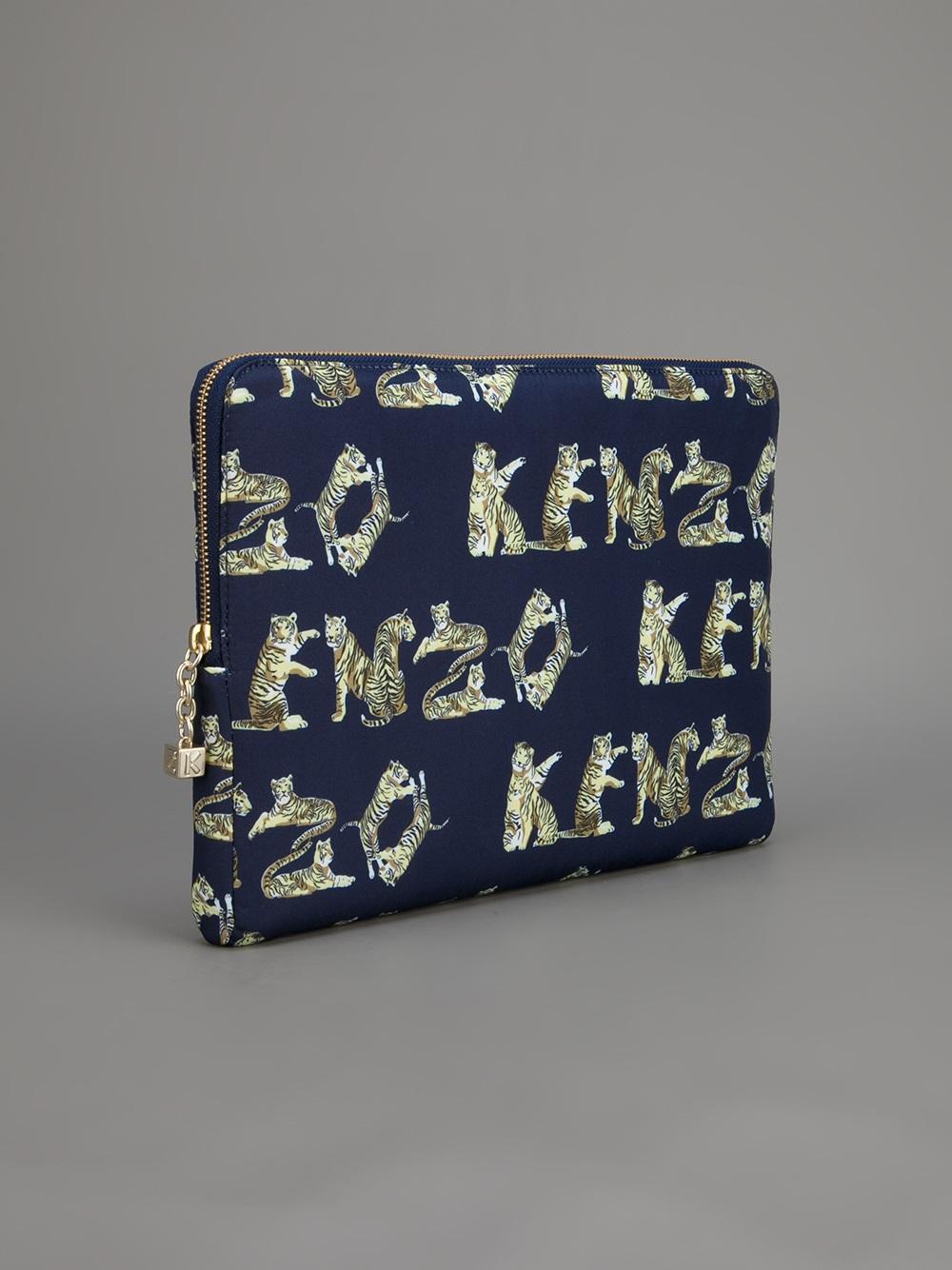 Lyst Kenzo Tiger Print Ipad Case In Blue