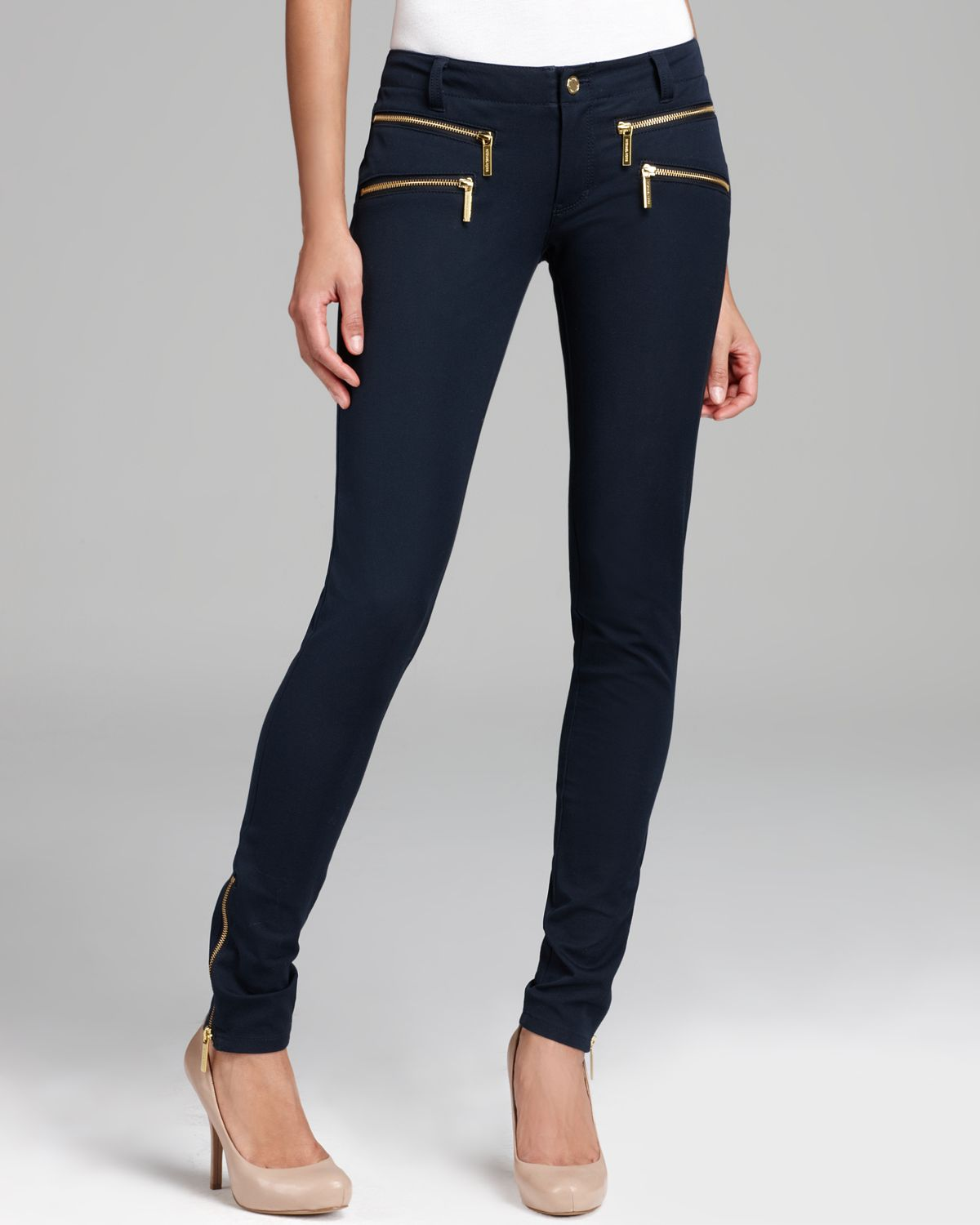 michael michael kors rocker zip skinny pants in blue lyst. Black Bedroom Furniture Sets. Home Design Ideas