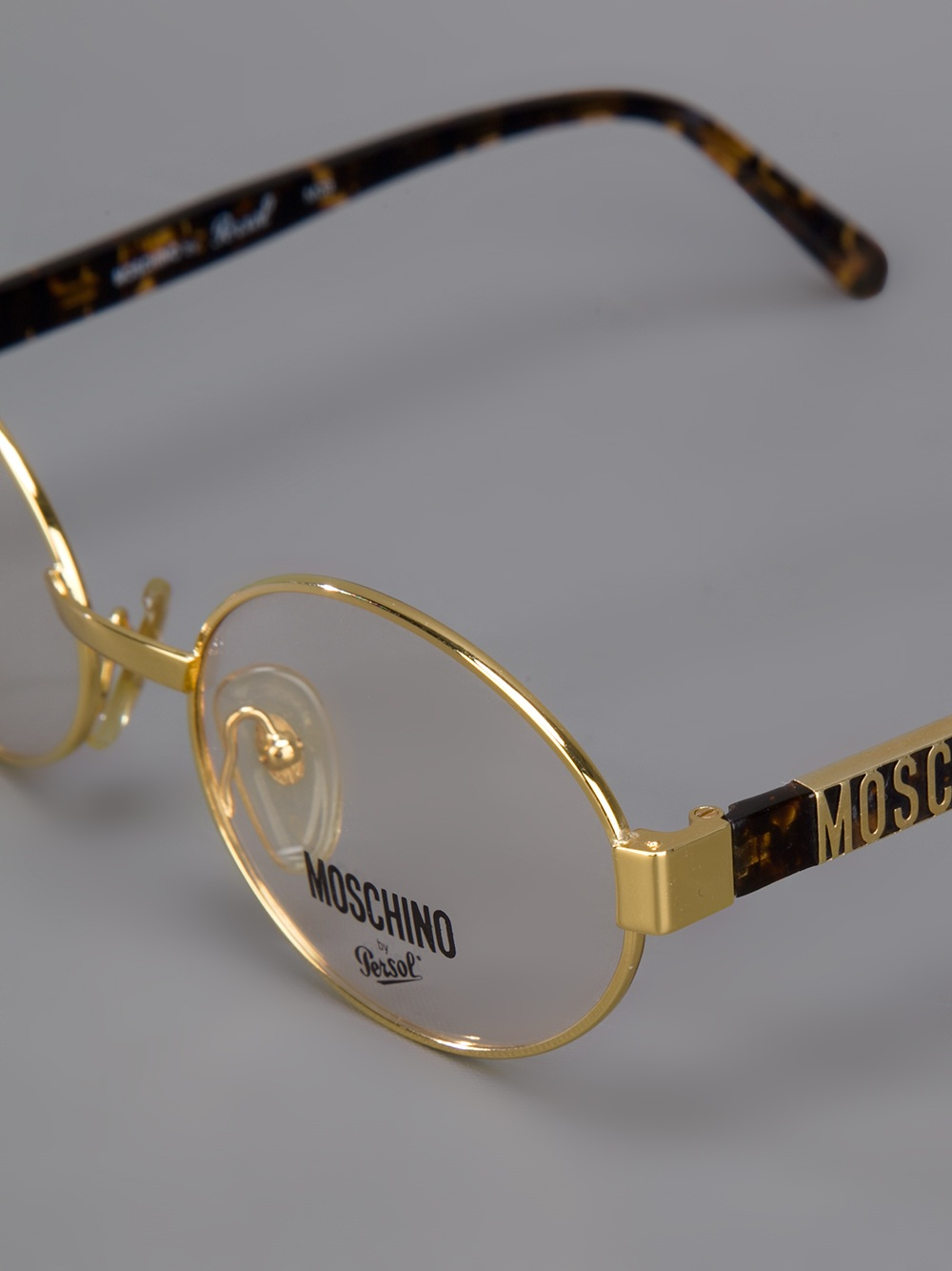 Glasses Frame Gold : Moschino Round Frame Glasses in Metallic Lyst