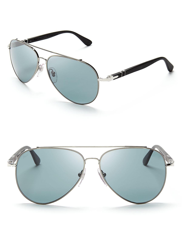 9f1b3913d4 Persol Polarized Metal Pilot Aviator Sunglasses in Metallic for Men ...