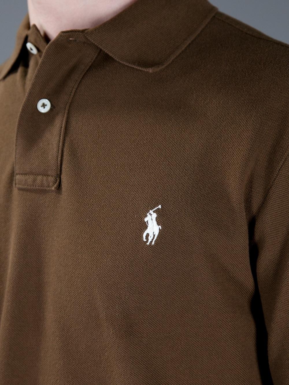 Lyst Ralph Lauren Blue Label Long Sleeve Polo Shirt In Brown For Men