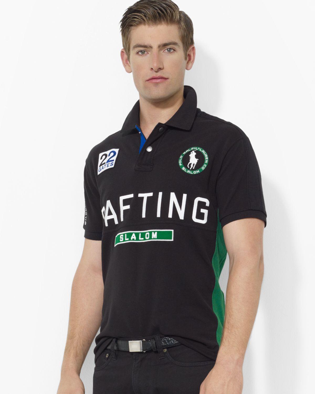 Ralph lauren Polo Customfit Shortsleeved River Slalom Mesh Polo in Black  for Men (polo black