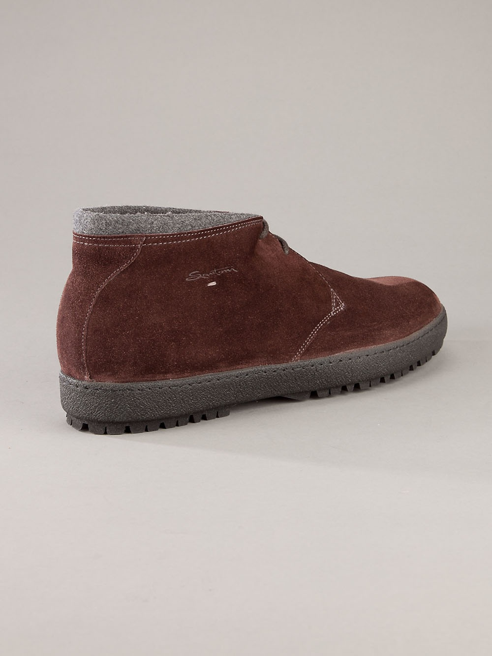 santoni suede ankle boot in brown for lyst