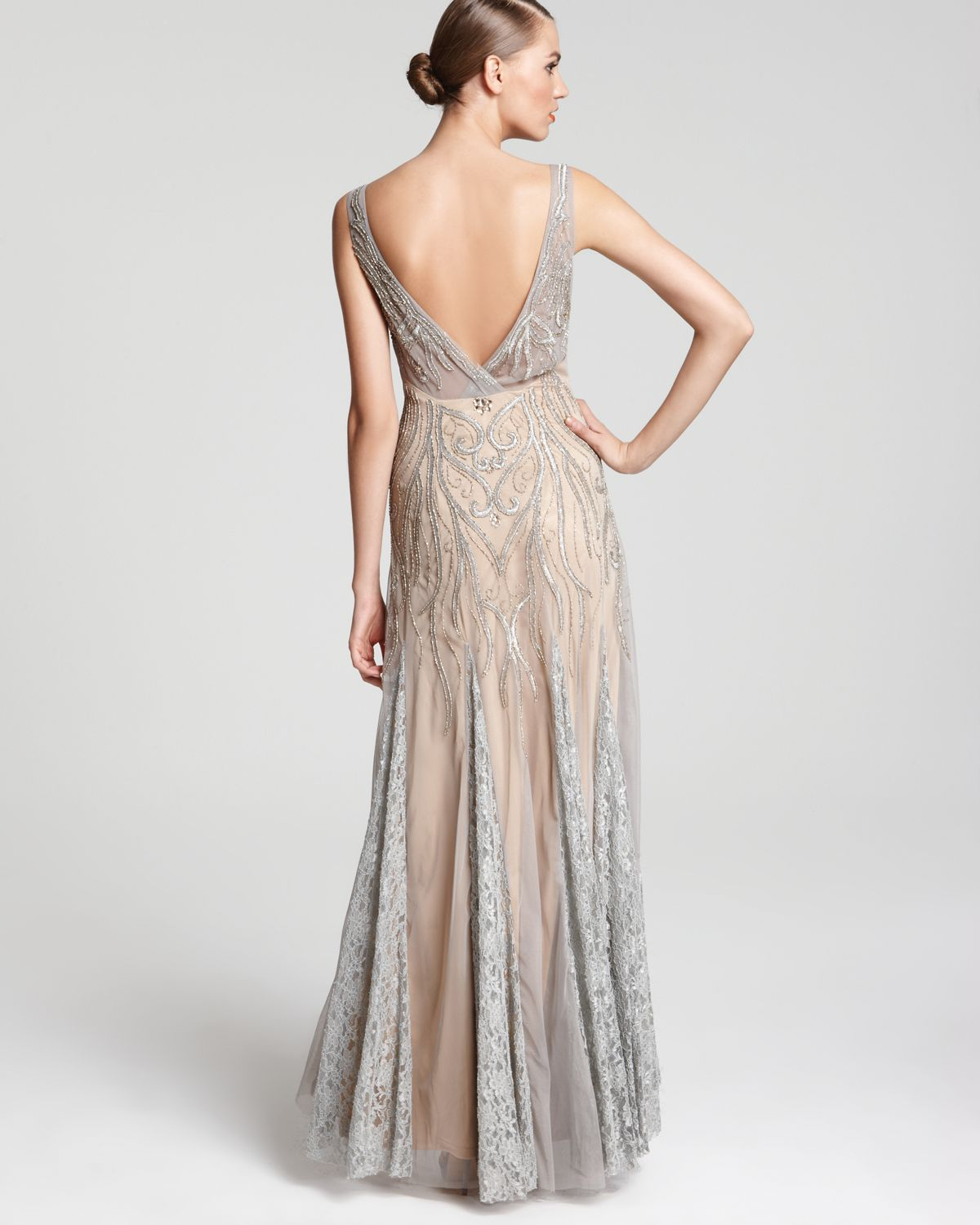 Lyst - Sue Wong Gown V Neck in Gray