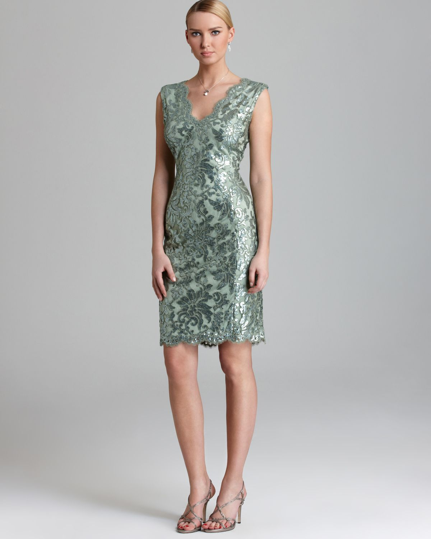787c423903d Tadashi Shoji Dress V Neck Sequin Lace In Green Lyst