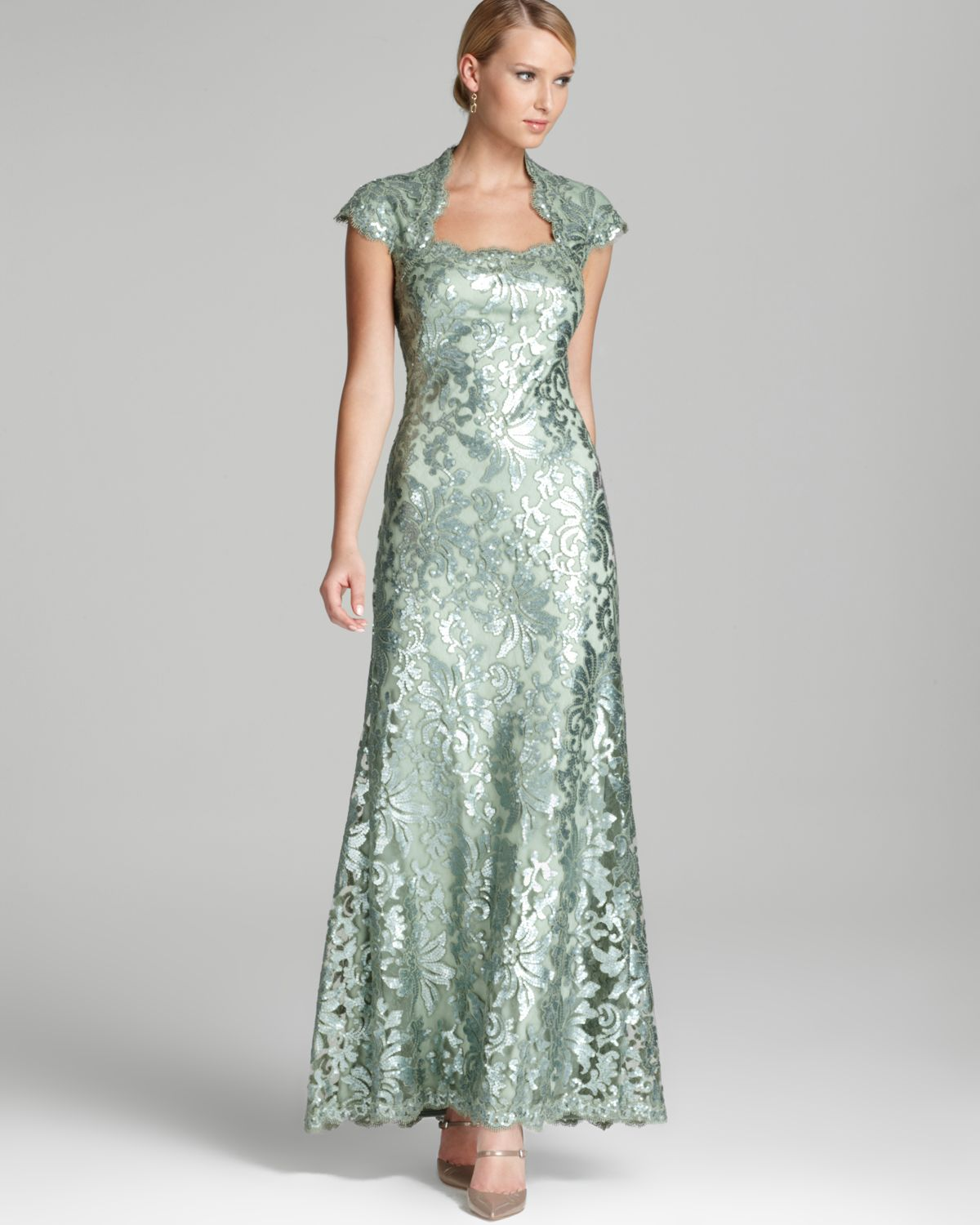 Lyst - Tadashi Shoji Lace Gown Cap Sleeve Square Neck Sequin in Green