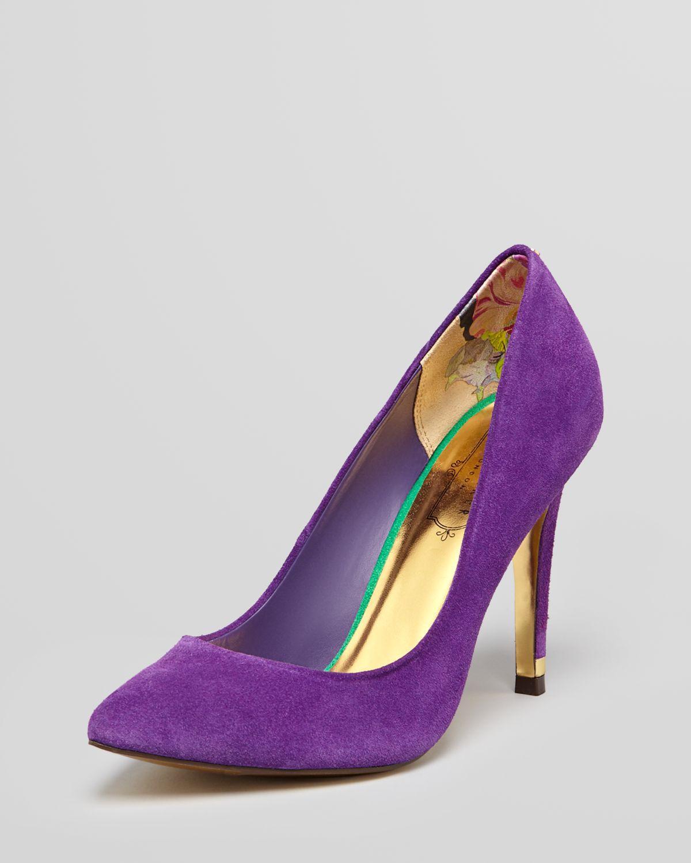 Purple Pointed Toe Heels  Tsaa Heel