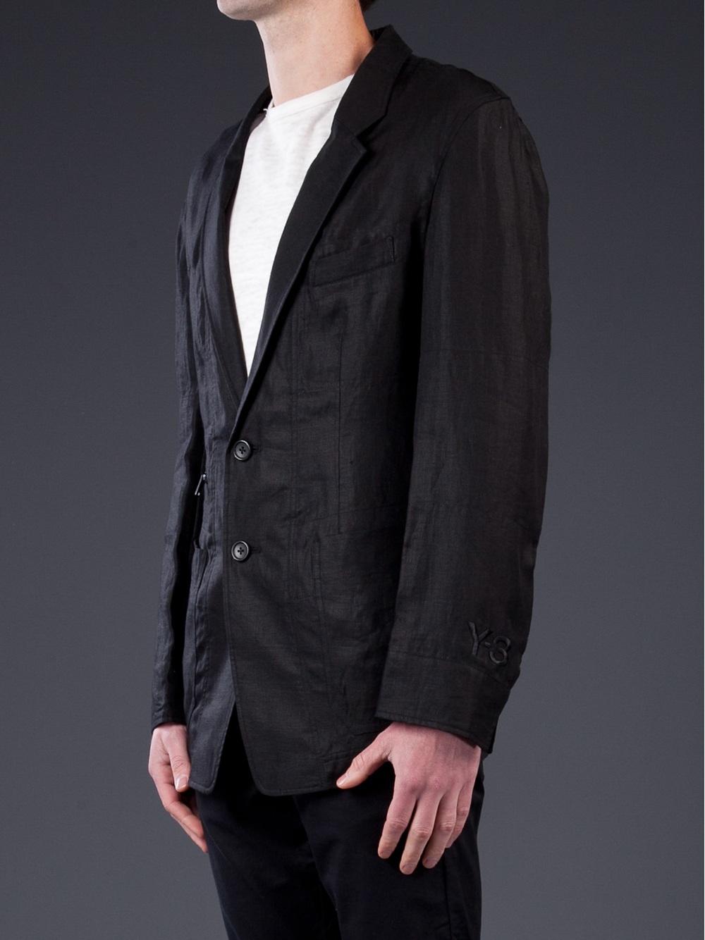 89f5527377d2 Y-3 Linen Blazer in Black for Men - Lyst