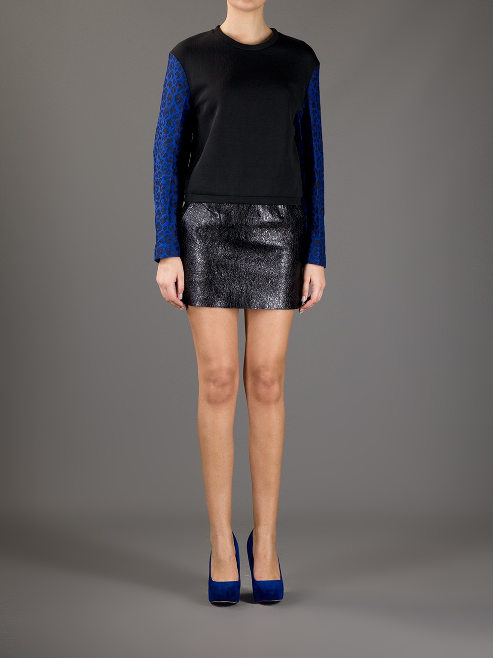 3 1 phillip lim metallic leather skirt in black lyst