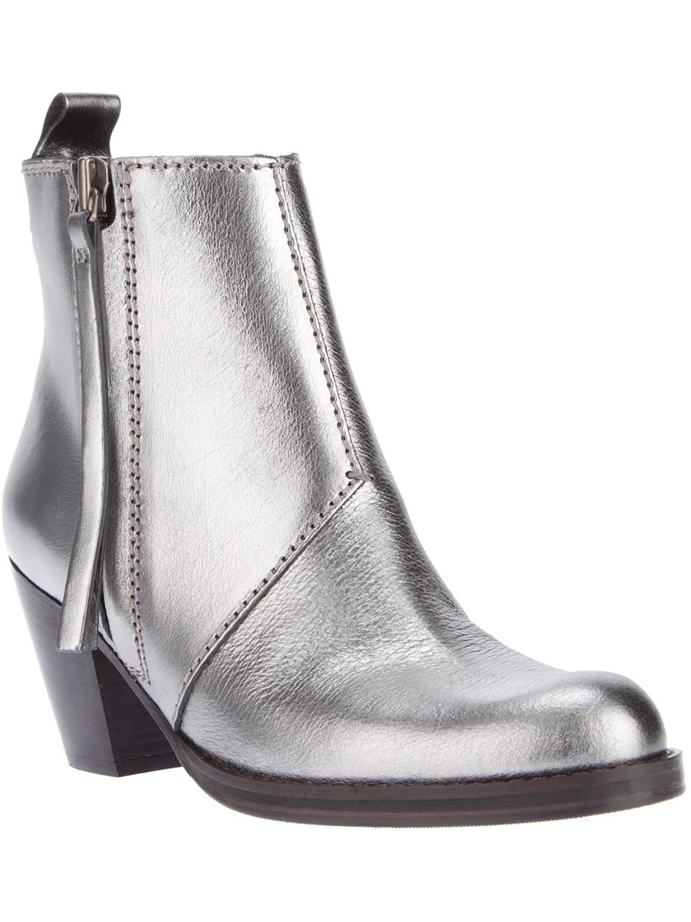 Acne studios Pistol Short Ankle Boot in Metallic | Lyst