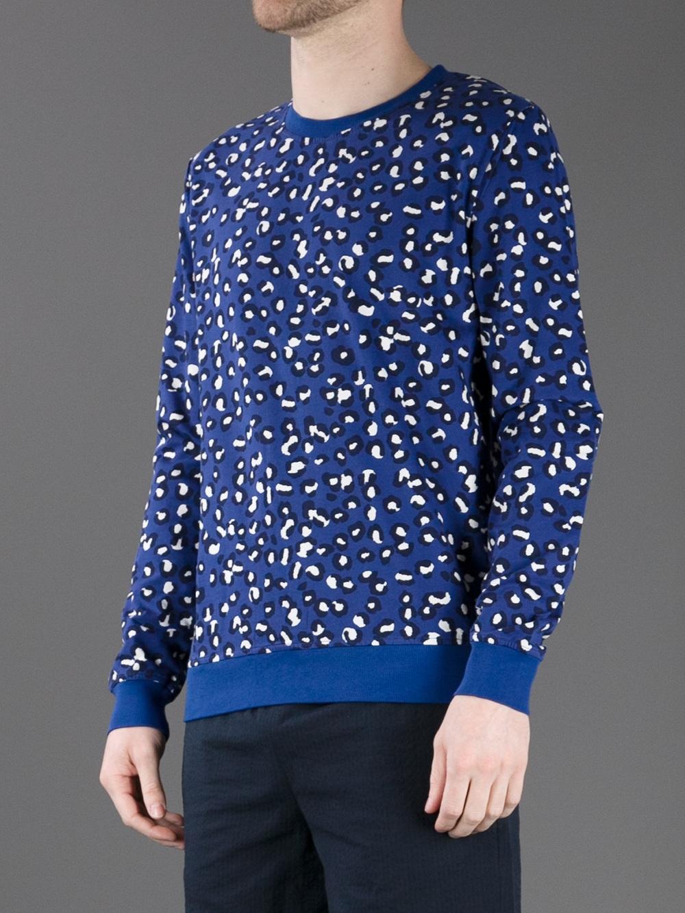 A.p.c. Leopard Sweater in Blue for Men | Lyst