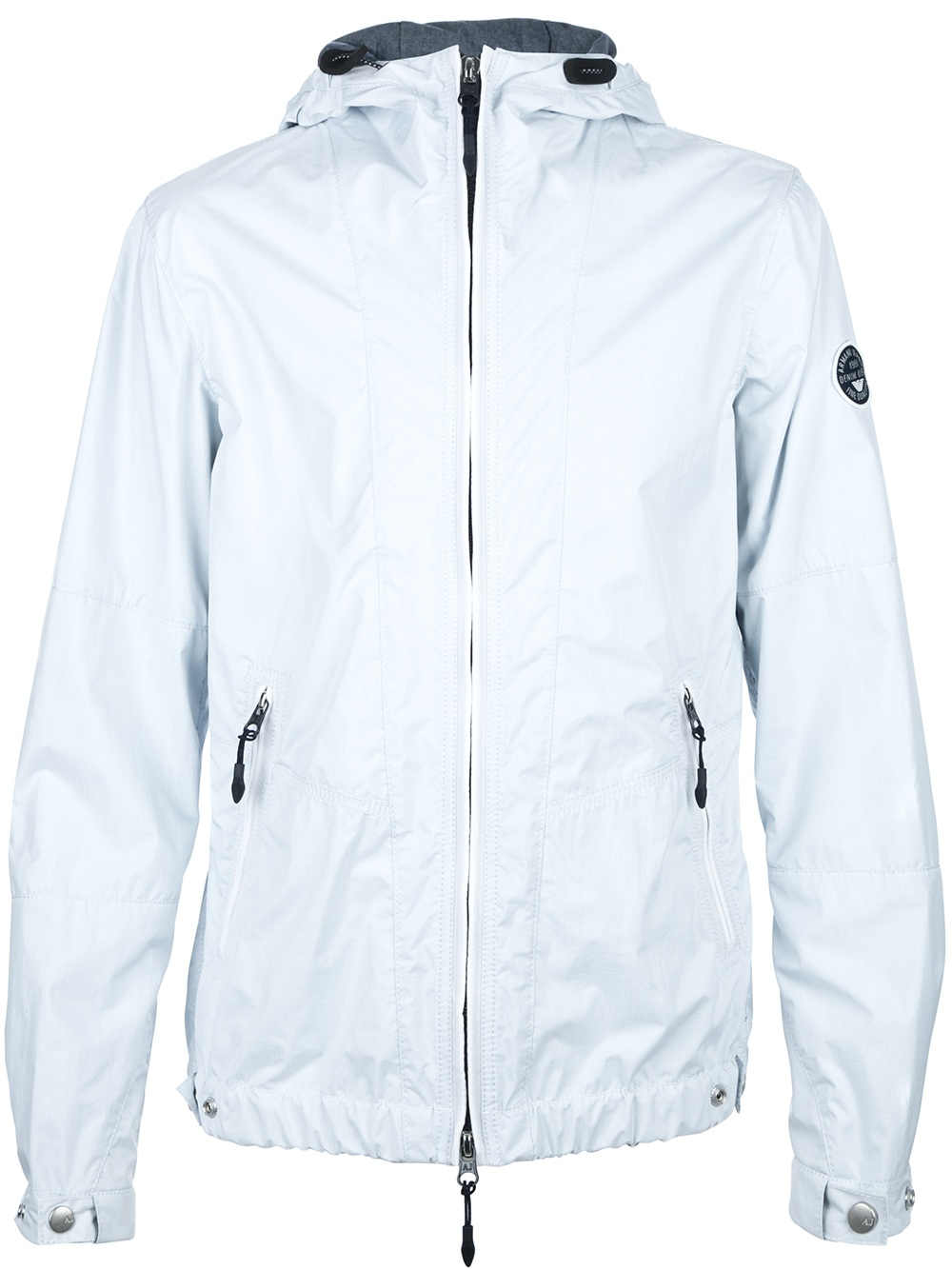 Armani jeans Light Weight Hooded Jacket in White for Men | Lyst