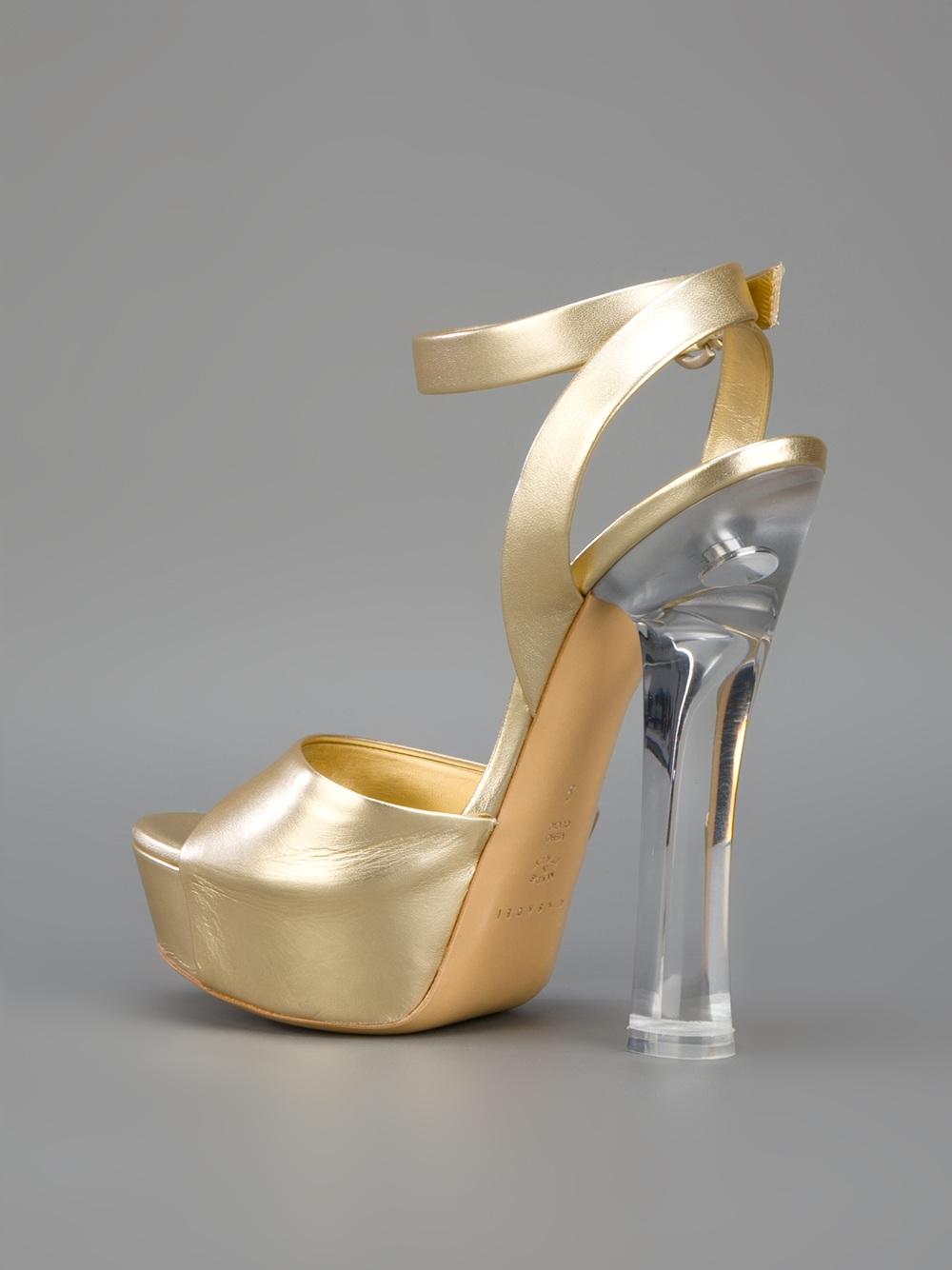 Casadei Block Heel Sandal In Metallic Lyst