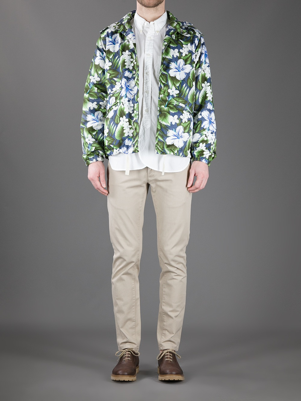 Engineered Garments Floral Print Jacket in Military Green (Green) for Men