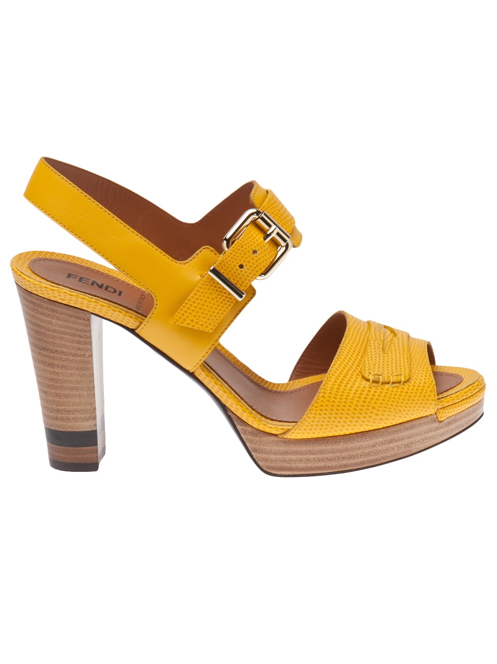 Fendi Block Heel Sandal in Yellow | Lyst