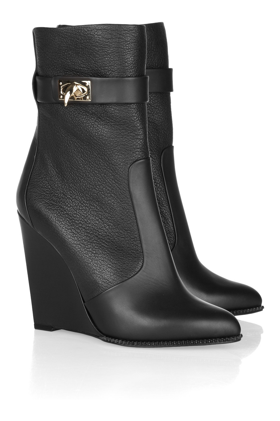 Givenchy Leather Wedge Ankle Boots in Black | Lyst