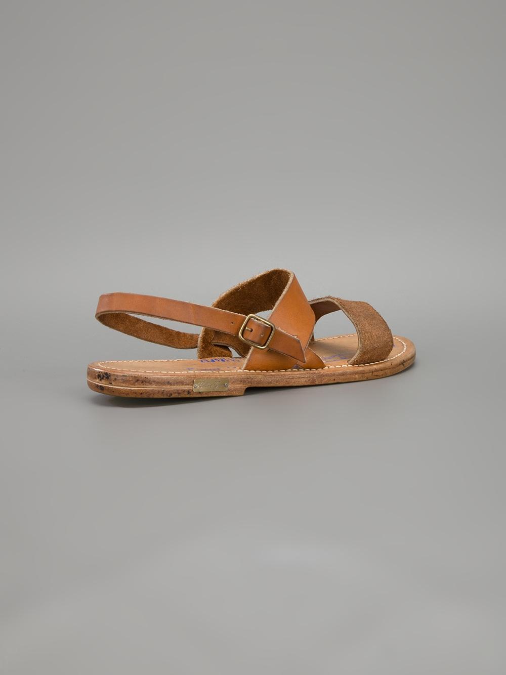 Two Strap Slide Sandals Brown