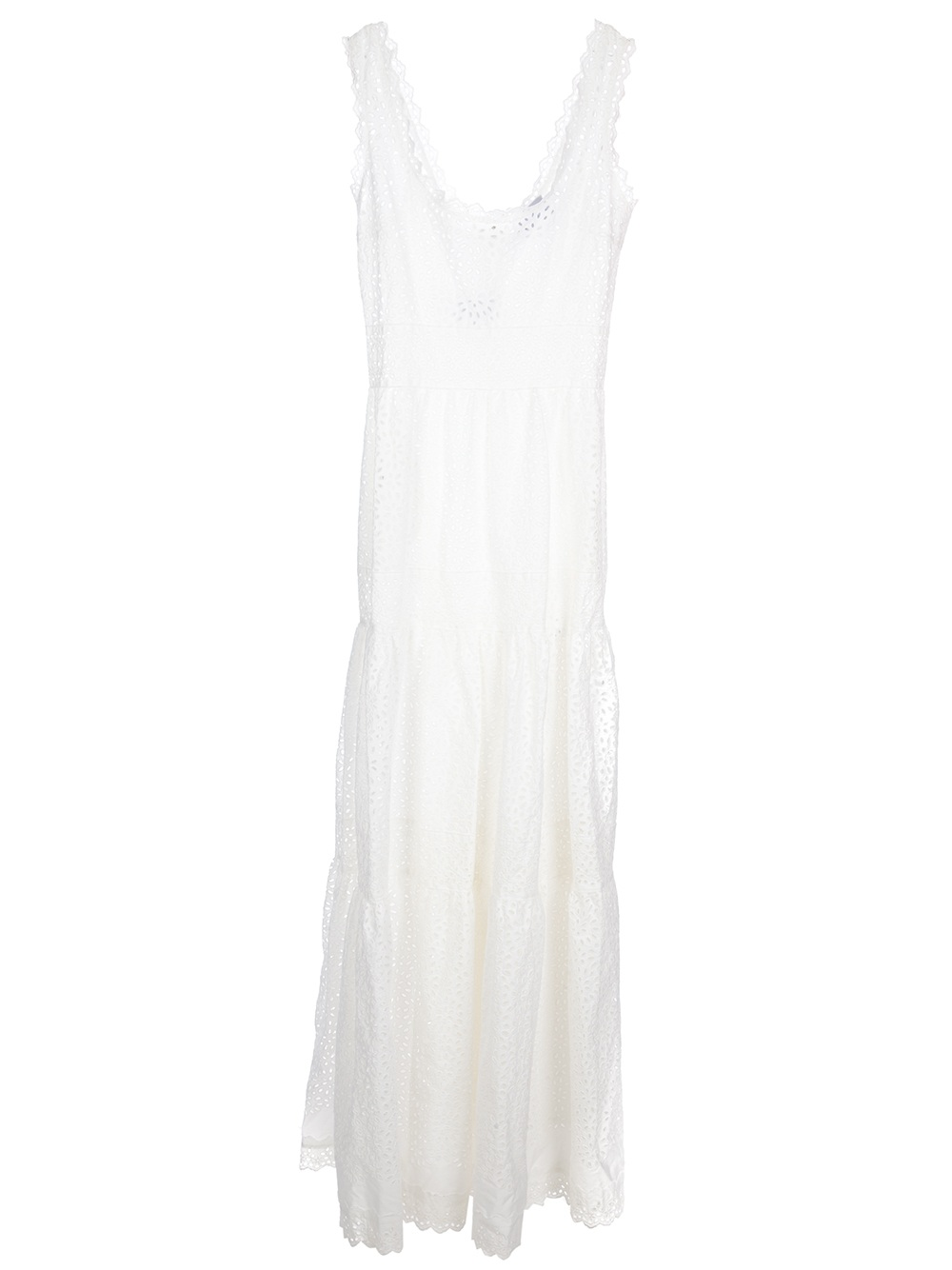 3bf8e043fd5a Luisa Beccaria Eyelet Maxi Dress in White - Lyst