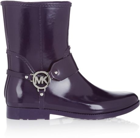 Michael By Michael Kors Fulton Rubber Calf Boots In Purple