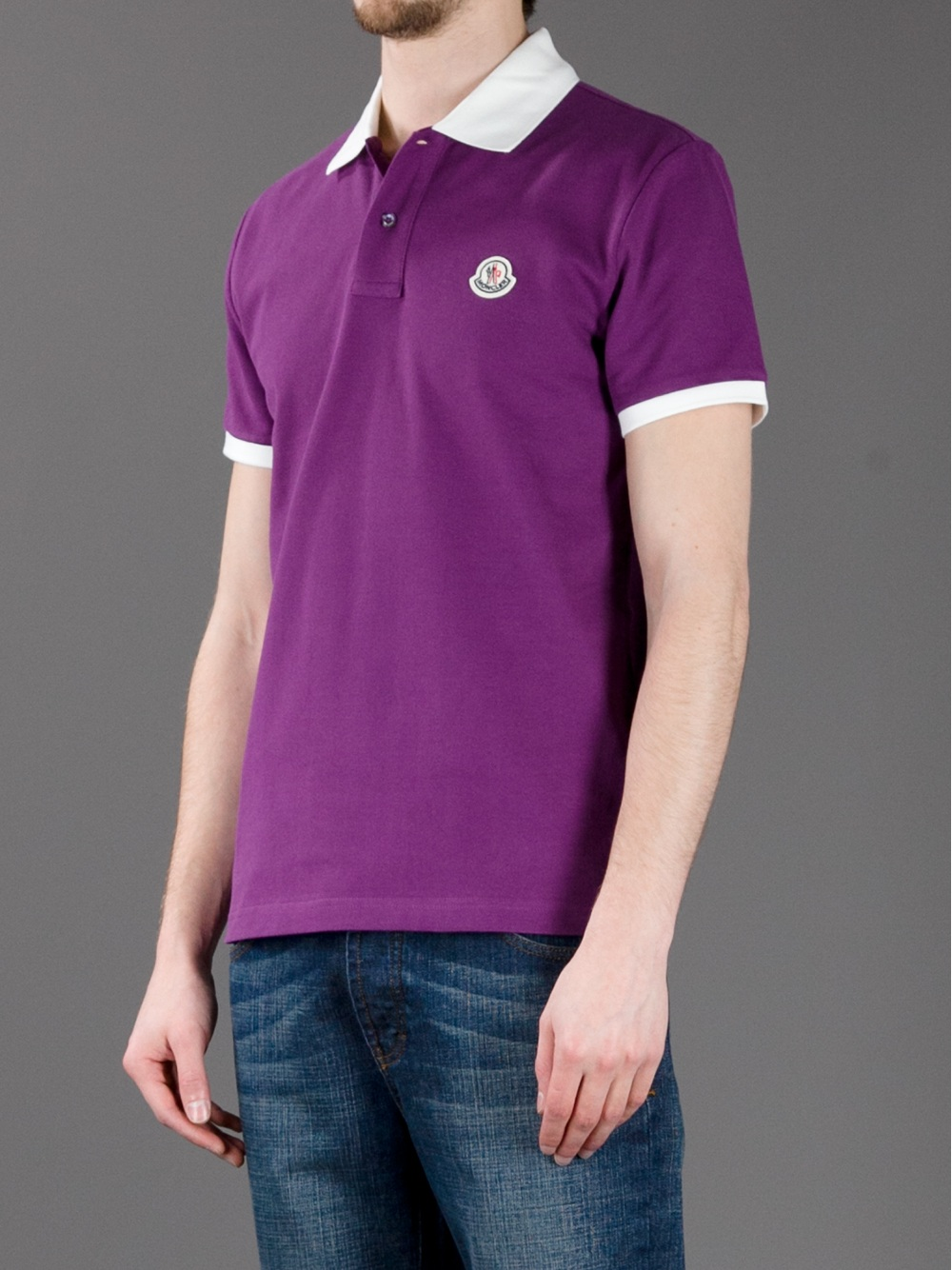 Moncler Contrast Collar Polo Shirt In Purple For Men Lyst