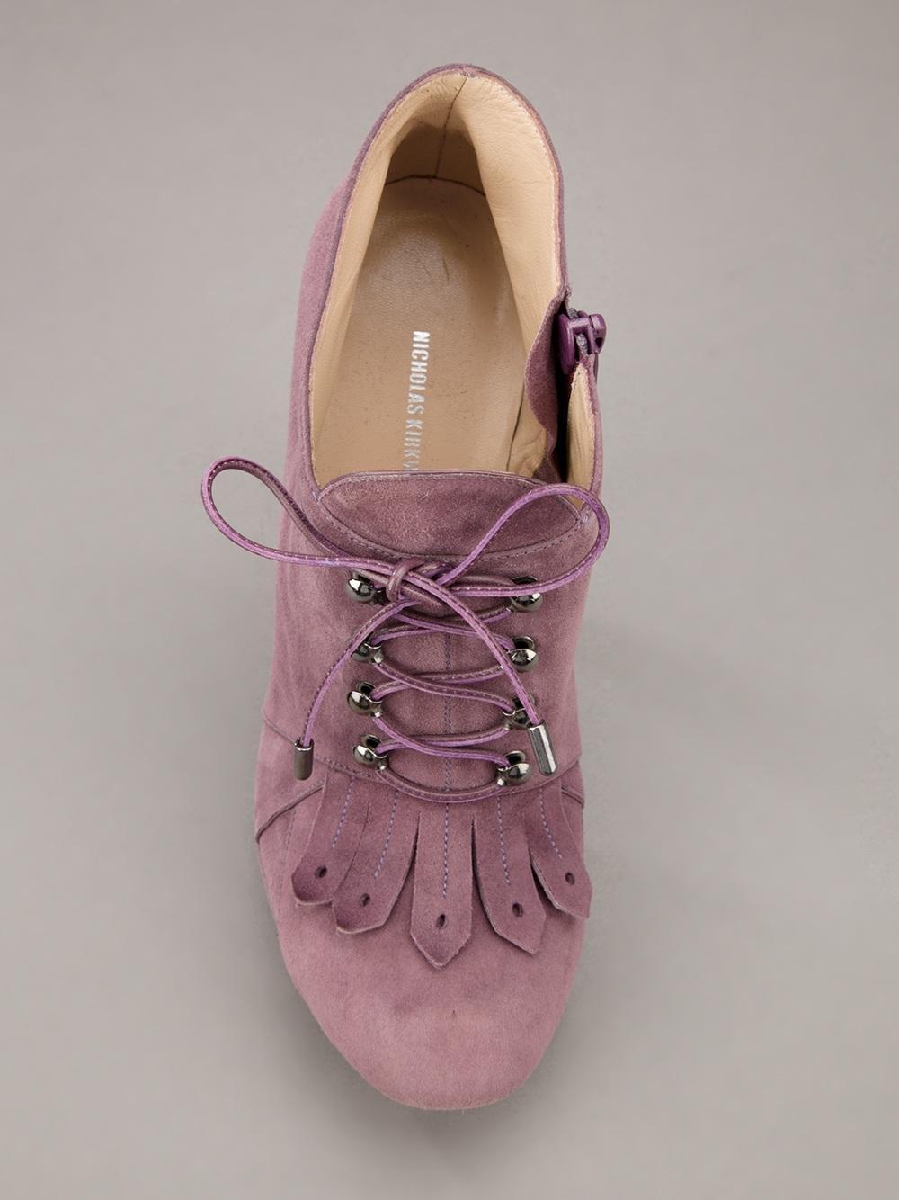 Nicholas Kirkwood Fringed Ankle Boot In Pink Amp Purple