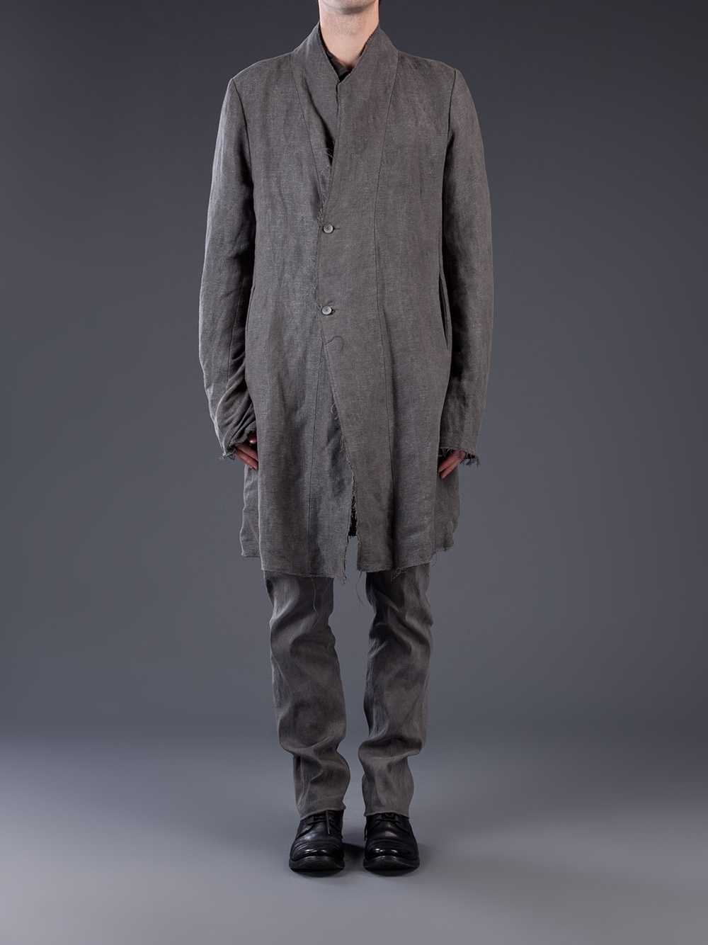 Lyst Poeme Bohemien Frayed Midlength Coat In Gray For Men